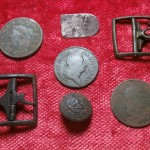 After finding the gold cufflink, a follow-up search with my Deus metal detector produced other finds – early copper coins, knee buckles, and other noteworthy recoveries.