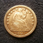 Obverse view of an 1847 Liberty Seated half-dime - The coin has great detail and nice eye appeal.
